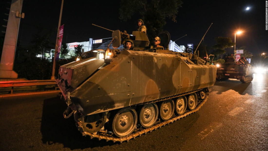 Turkish military members make their way through the streets of Istanbul.