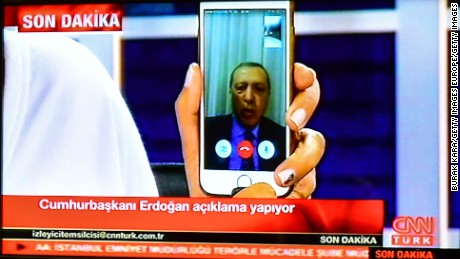 Turkish President Recep Tayyip Erdogan speaks on CnnTurk via FaceTime on July 15 in Istanbul.