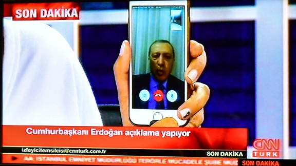 Turkish President Recep Tayyip Erdogan speaks on CNNTurk via Facetime.