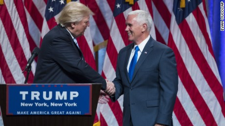 Republican presidential candidate Donald Trump introduces Indiana Governor Mike Pence during a campaign event to announce Pence as the vice presidential running mate on, Saturday, July 16 in New York.
