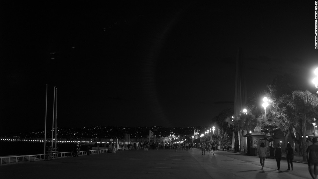 The Promenade des Anglais in Nice, France, is seen the night after a man killed at least 84 people with a truck as they were celebrating Bastille Day. Magnum photographer Alessandra Sanguinetti went to Nice the day after the truck attack.