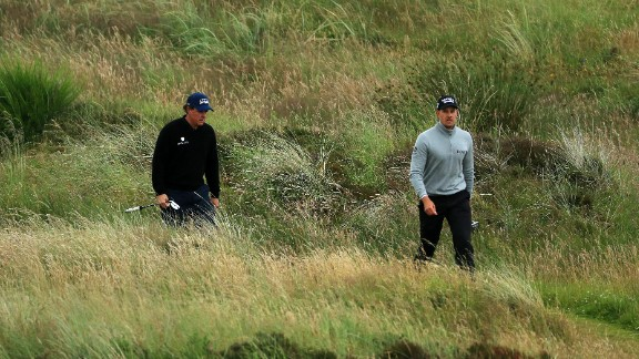 Mickelson (left) and Stenson have a big buffer over the rest of the field at Troon.
