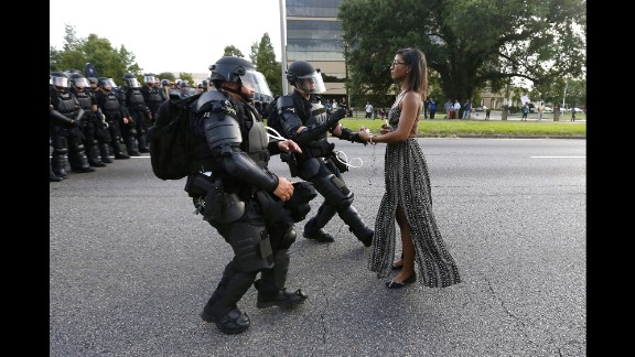 Protestor Ieshia Evans is detained by law enforcement near the headquarters of the Baton Rouge Police Department on July 9.