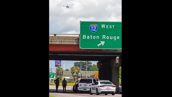 Baton Rouge Police block Airline Highway after police were shot on Sunday, July 17.