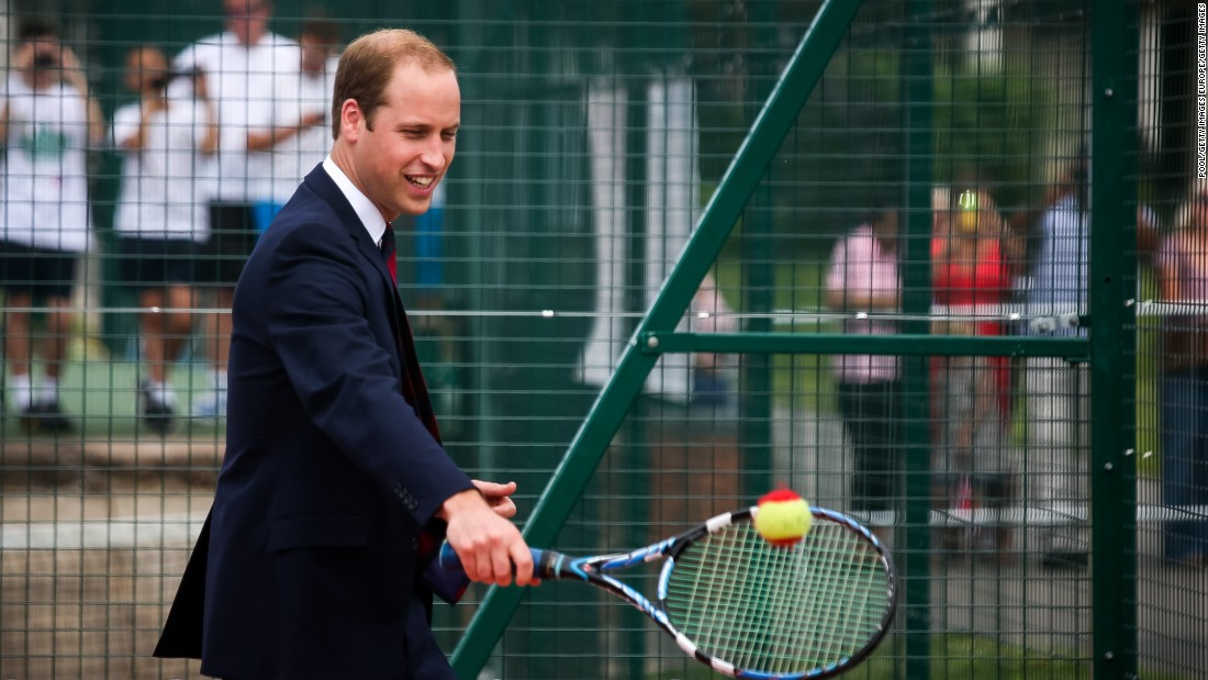 Prince WIlliam has been known to try his hand at tennis -- although he may want to wear something slightly more suitable next time.