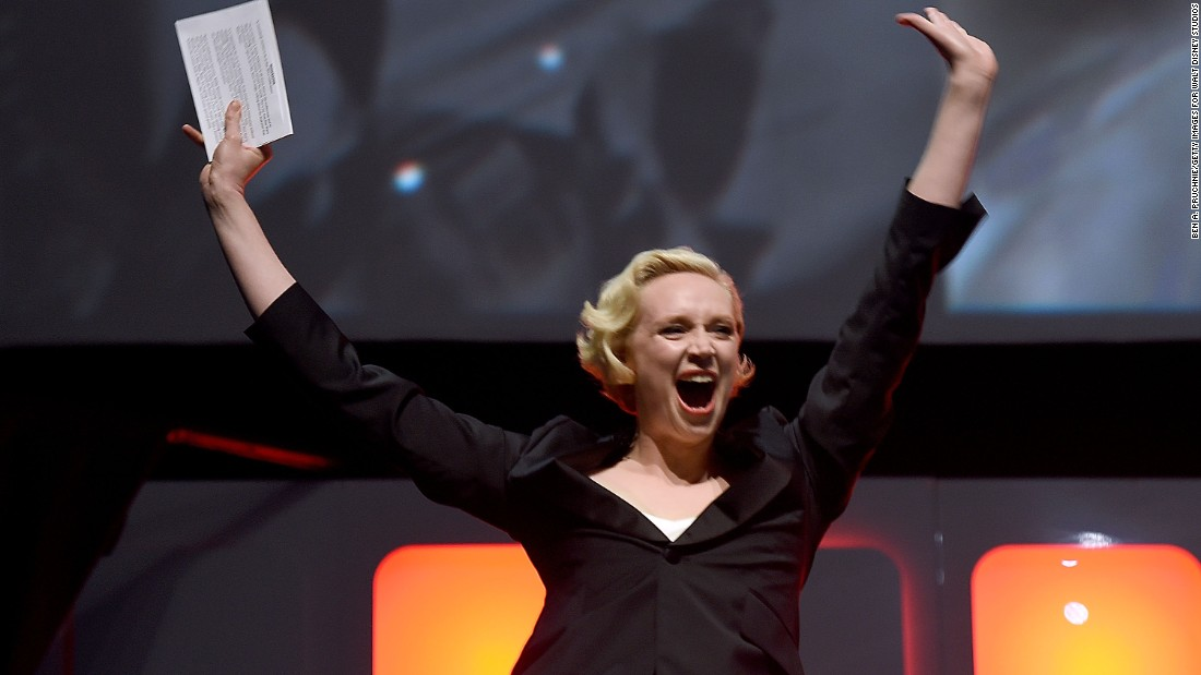 "Host Gwendoline Christie during the ""Rogue One"" panel."