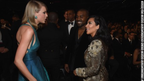 Taylor Swift, Kim Kardashian and Kanye West at the 57th Annual Grammy Awards