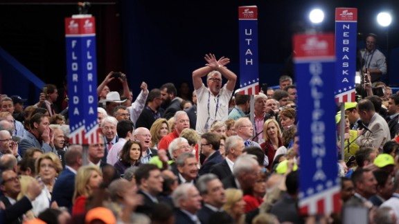 Delegates protest onm the floor on the first day of the Republican National Convention on July 18, 2016 at the Quicken Loans Arena in Cleveland, Ohio. An estimated 50,000 people are expected in Cleveland, including hundreds of protesters and members of the media. The four-day Republican National Convention kicks off on July 18.