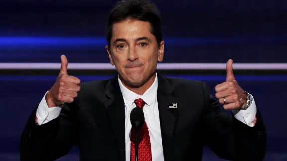 """Actor Scott Baio gives two thumbs up during his speech on Monday. """"Let"""