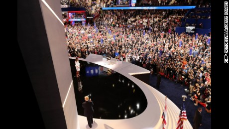 Presumptive Republican presidential nominee Donald Trump reacts to his wife Melania after she delivered a speech on the first day of the Republican National Convention on July 18, 2016 at the Quicken Loans Arena in Cleveland, Ohio. An estimated 50,000 people are expected in Cleveland, including hundreds of protesters and members of the media. The four-day Republican National Convention kicks off on July 18.