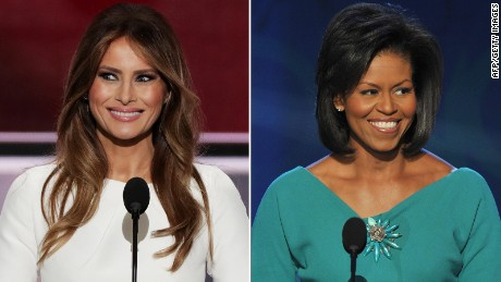 Side-by-side of Melania Trump, Michelle Obama speeches