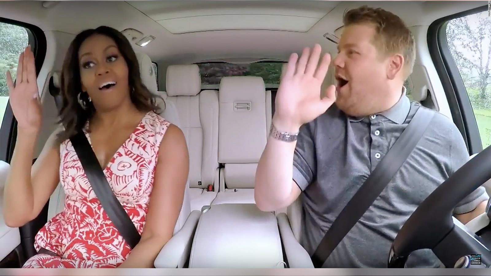 michelle obama jams to carpool karaoke gets star trek freak on