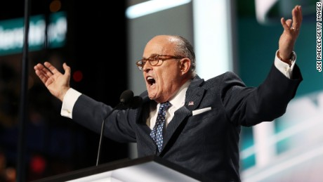 CLEVELAND, OH - JULY 18:  Former New York City Mayor Rudy Giuliani delivers a speech on the first day of the Republican National Convention on July 18, 2016 at the Quicken Loans Arena in Cleveland, Ohio. An estimated 50,000 people are expected in Cleveland, including hundreds of protesters and members of the media. The four-day Republican National Convention kicks off on July 18.  (Photo by Joe Raedle/Getty Images)