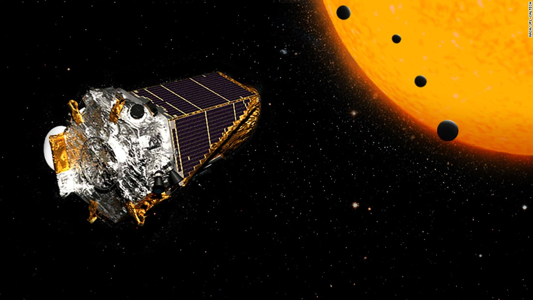 Out of a new discovery of 104 exoplanets, astronomers found four similar in size to Earth that are orbiting a dwarf star. Two of them have the potential to support life. The craft depicted in this illustration is the NASA Kepler Space Telescope, which has helped confirm the existence of thousands of exoplanets.