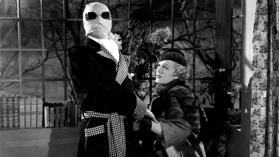 "Actor Claude Rains and actress Gloria Stuart in the 1933 film ""The Invisible Man,"" in which a scientist finds a way to become invisible."