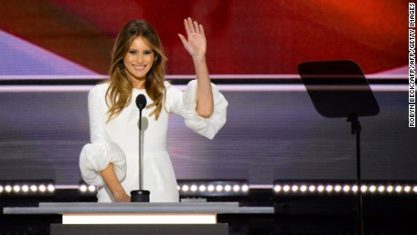 Melania Trump, wife of presumptive Republican presidential candidate Donald Trump, addresses delegates on the first day of the Republican National Convention on July 18, 2016 at Quicken Loans Arena in Cleveland, Ohio. The Republican Party opened its national convention, kicking off a four-day political jamboree that will anoint billionaire Donald Trump as its presidential nominee.  / AFP / Robyn BECK        (Photo credit should read ROBYN BECK/AFP/Getty Images)