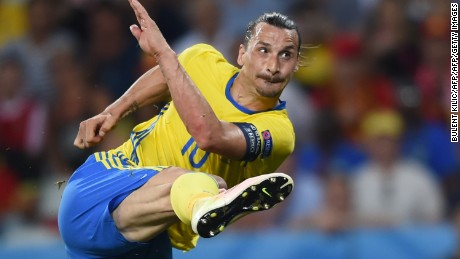 Sweden's forward Zlatan Ibrahimovic in action during the Euro 2016 group E football match between Sweden and Belgium at the Allianz Riviera stadium in Nice on June 22, 2016. / AFP / BULENT KILIC        (Photo credit should read BULENT KILIC/AFP/Getty Images)