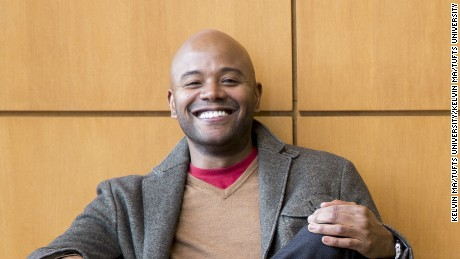 01/27/2014 - Somerville, Mass. - Peniel Joseph, Professor of History African who specializes in American, Race Relations, Intellectual History, Civil Rights and Black Power, poses for a portrait in Granoff Music Hall on Jan. 27, 2014. (Kelvin Ma/Tufts University)