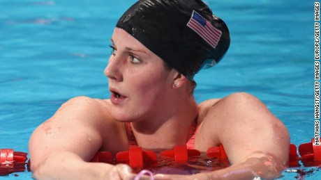54e57b88426 KAZAN, RUSSIA - AUGUST 07: Missy Franklin of the United States reacts after  competing