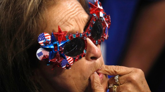 A delegate whistles as roll call votes are cast on Tuesday.