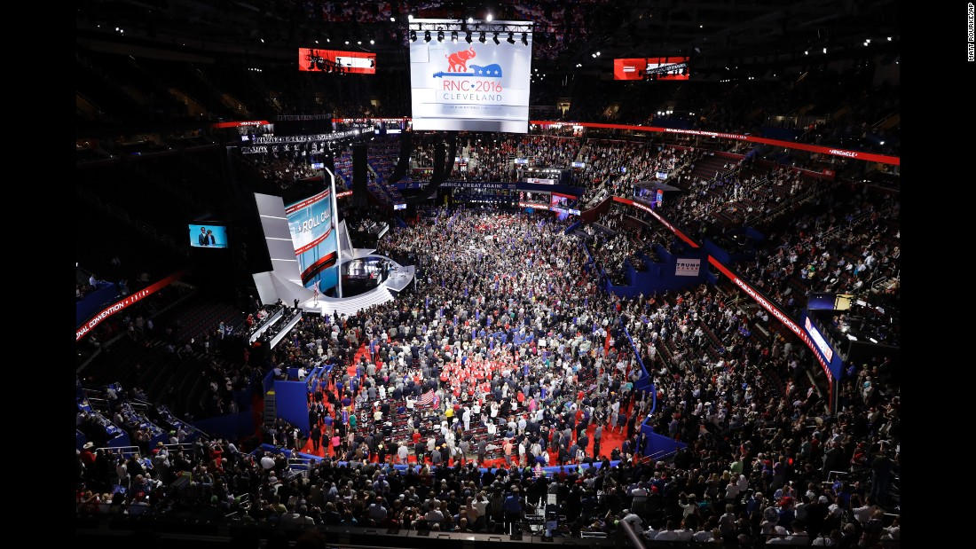 Delegates fill the floor of the arena on Tuesday.