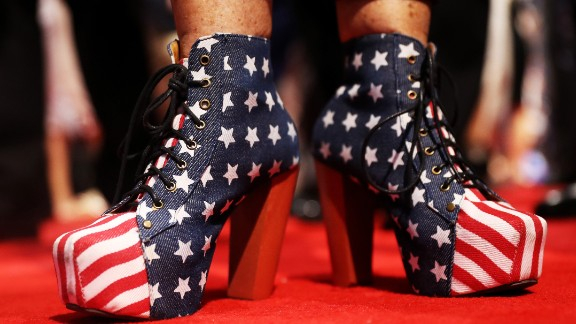 A convention attendee wears American-themed shoes on Tuesday.