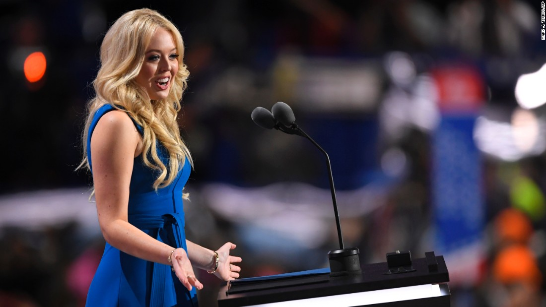 "Donald Trump's daughter Tiffany addresses the crowd at Quicken Loans Arena. ""Whatever (my father) does, he gives it all and does it well,"" she said on Tuesday. ""His desire for excellence is contagious. He possesses a unique gift for bringing that out in others."""