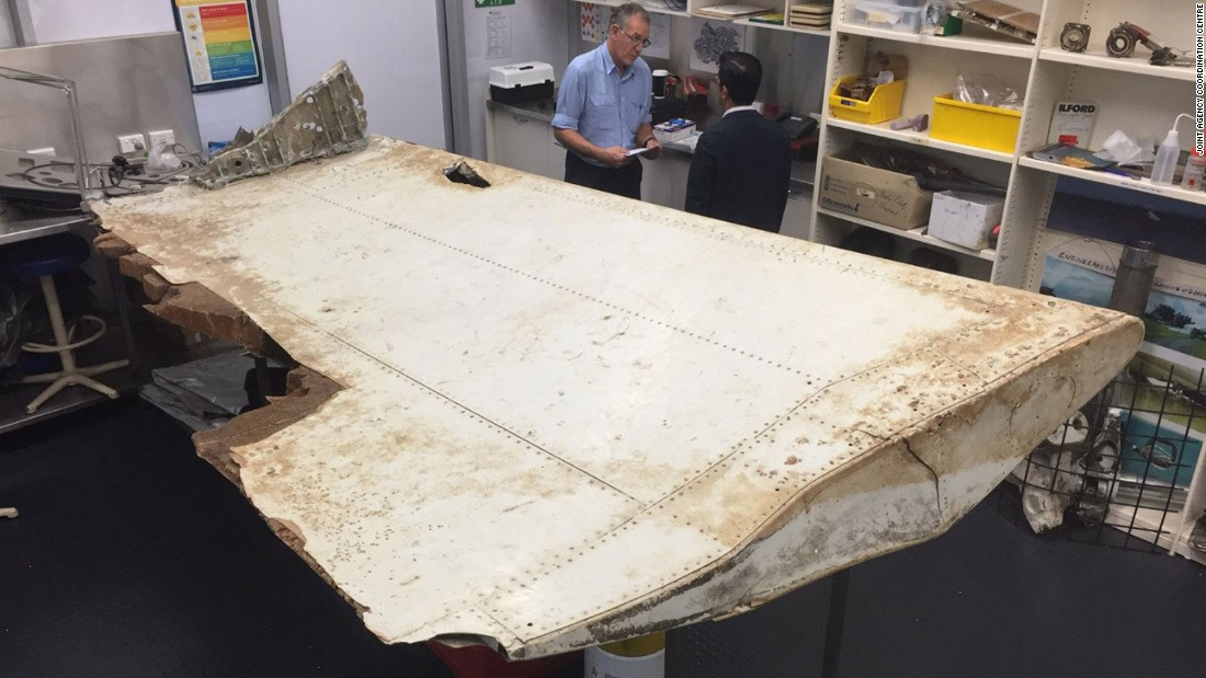 "A piece of aircraft debris found in Tanzania in June 2016 and transported to Australia. The country's <a href=""http://minister.infrastructure.gov.au/chester/releases/2016/September/dc116_2016.aspx"" target=""_blank"">Infrastructure and Transport minister</a> said it was confirmed as coming from MH370 in September 2016."