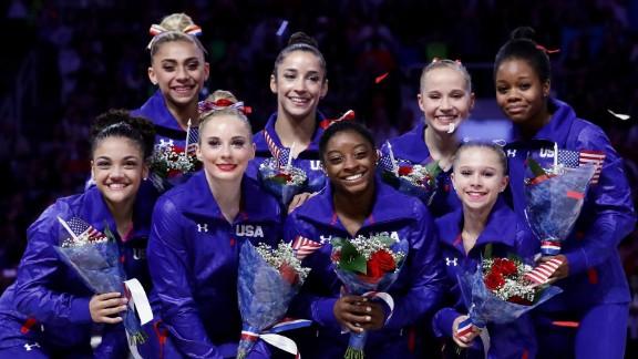 The women chosen for the 2016 US Women's Gymnastic team are (Front Row:) Lauren Hernandez, MyKayla Skinner, Simone Biles, Ragan Smith (Back Row) Ashton Locklear, Alexandra Raisman, Madison Kocian, and Gabrielle Douglas.