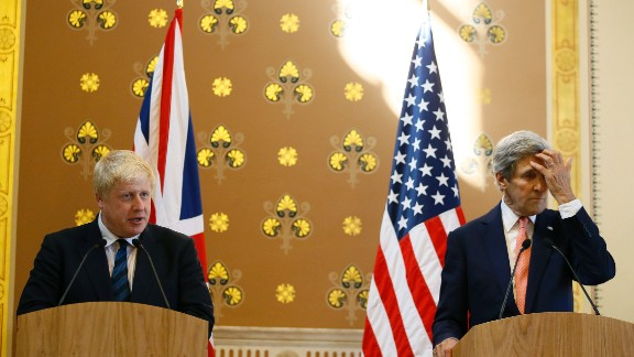 LONDON, ENGLAND - JULY 19: Britain's Foreign Secretary Boris Johnson (L) speaks during a press conference with U.S. Secretary of State John Kerry  at the Foreign and Commonwealth Office on July 19, 2016 in London, England. The Foreign Secretary met with John Kerry to discuss the importance of the 'Special Relationship' after the UK voted to leave the EU in the June referendum.  (Photo by Kirsty Wigglesworth - WPA Pool / Getty Images)