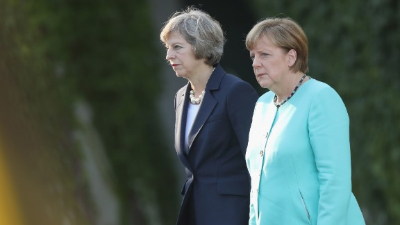 German Chancellor Angela Merkel (R) and British Prime Minister Theresa May in Berlin in July 2016.