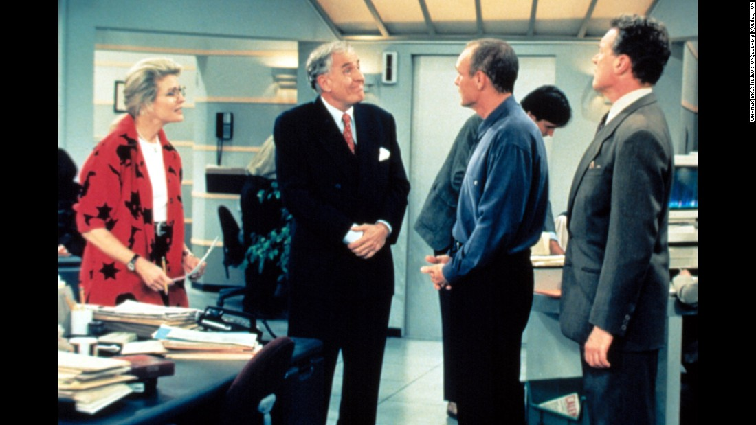 "Marshall, second from left, appears on the TV show ""Murphy Brown"" in 1988."