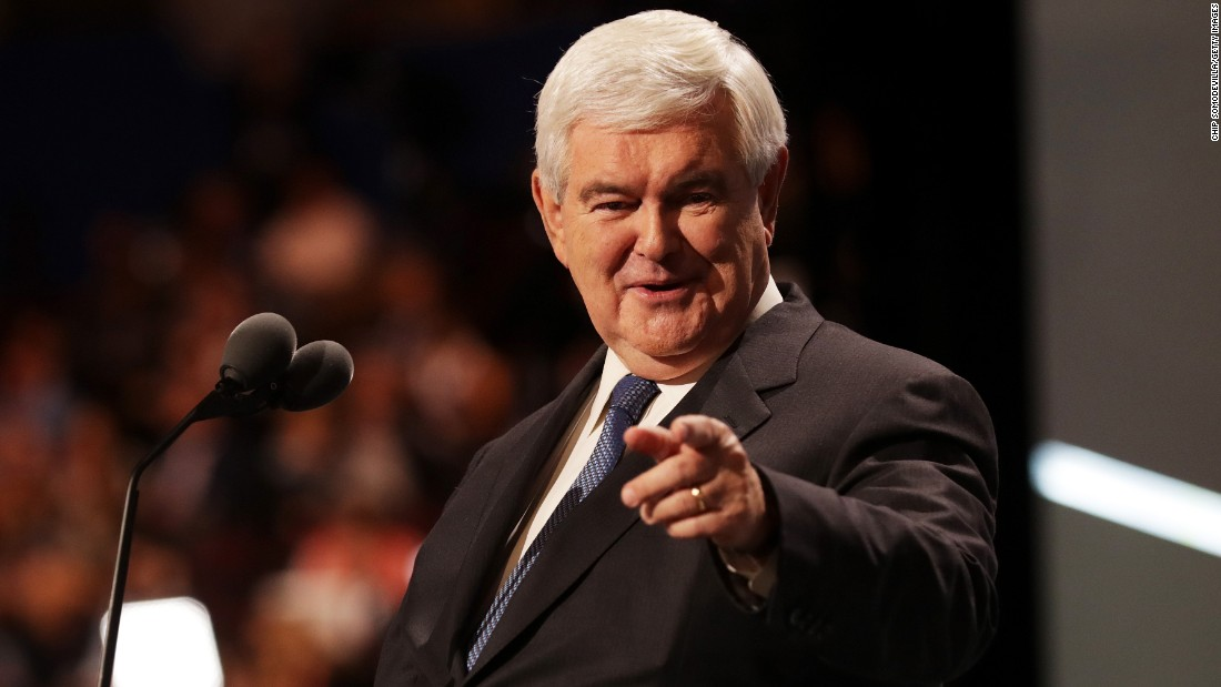 Former House Speaker Newt Gingrich delivers a speech on Wednesday.
