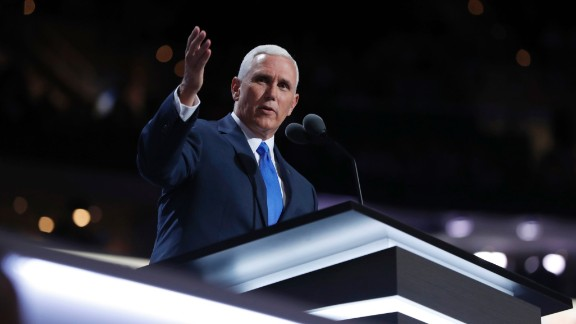 """""""I'm a Christian, a conservative and a Republican, in that order,"""" Pence told the crowd."""