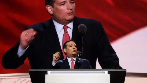 CLEVELAND, OH - JULY 20:  Sen. Ted Cruz (R-TX) delivers a speech on the third day of the Republican National Convention on July 20, 2016 at the Quicken Loans Arena in Cleveland, Ohio. Republican presidential candidate Donald Trump received the number of votes needed to secure the party