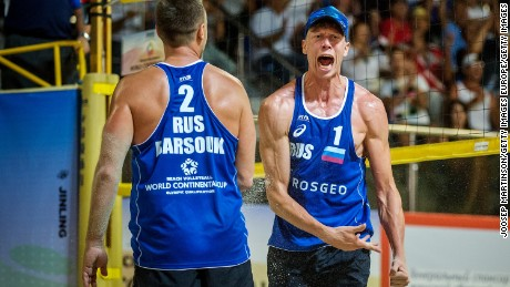 SOCHI, RUSSIA - JULY 10:  Nikita Liamin (right) and Dmitri Barsouk of Russia react after defeating Dries Koekelkoren and Tom van Walle of Belgium and claiming ticket to Rio Olympics during FIVB World Continental Cup Olympic Qualification on July 10, 2016 in Sochi, Russia.  (Photo by Joosep Martinson/Getty Images)