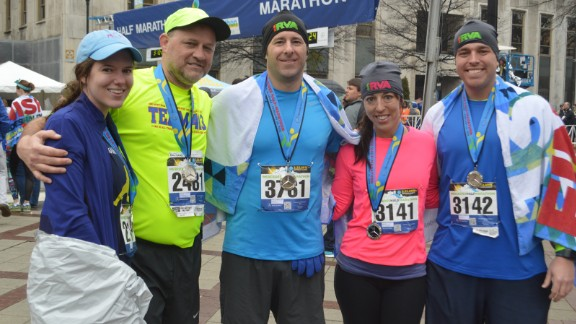 Members of Garner's surgical team were so inspired by him that they ran the full race by his side.
