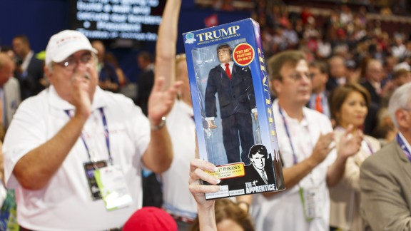 A Florida delegate holds up a Donald Trump doll during the event.