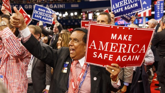 A California delegate gives a thumbs-up on the opening day of the convention.