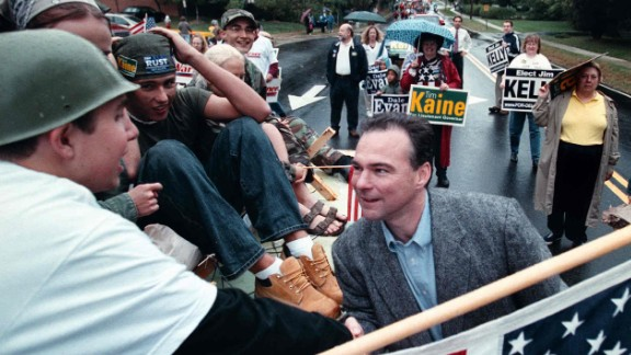 Kaine greets people at a Herndon, Virginia, homecoming parade on October 6, 2001. He was mayor of Richmond at the time and running for lieutenant governor.