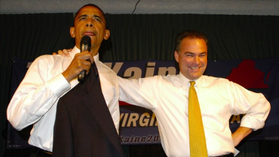While running for governor, Kaine was supported by then-U.S. Sen. Barack Obama. Here, the two attend a fundraiser in Arlington, Virginia, in 2005.