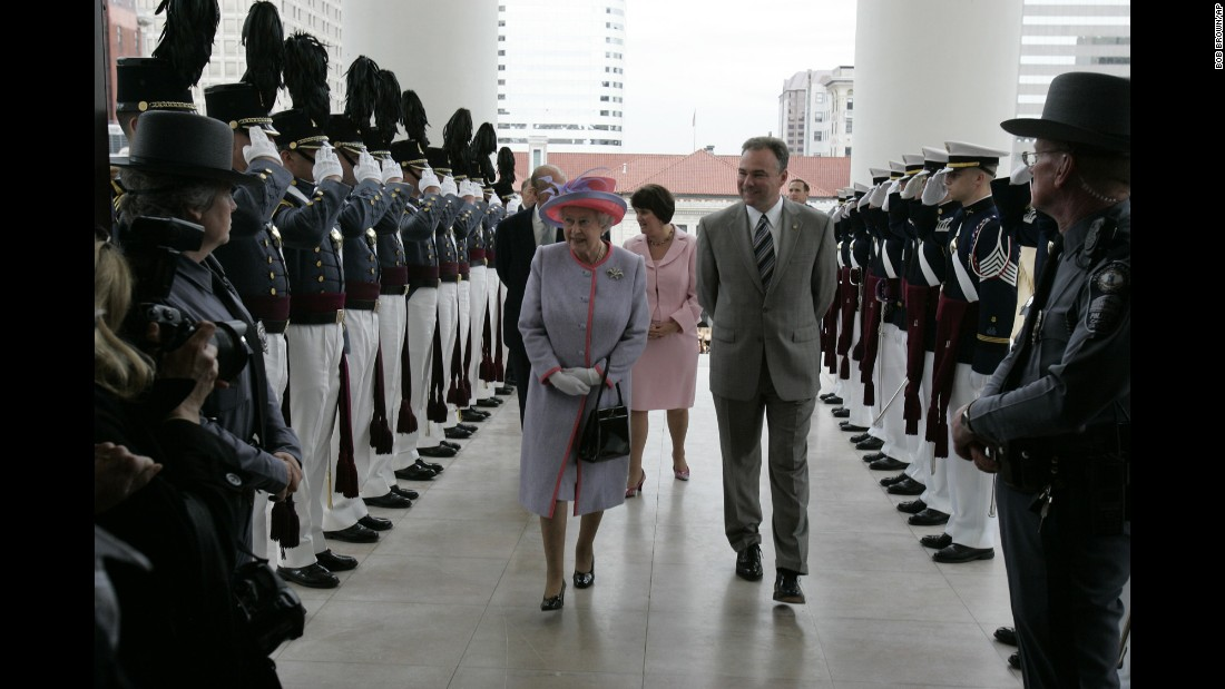 Cadets from the Virginia Military Institute and Virginia Tech salute as Kaine and Britain's Queen Elizabeth II enter the Virginia State Capitol in 2007.