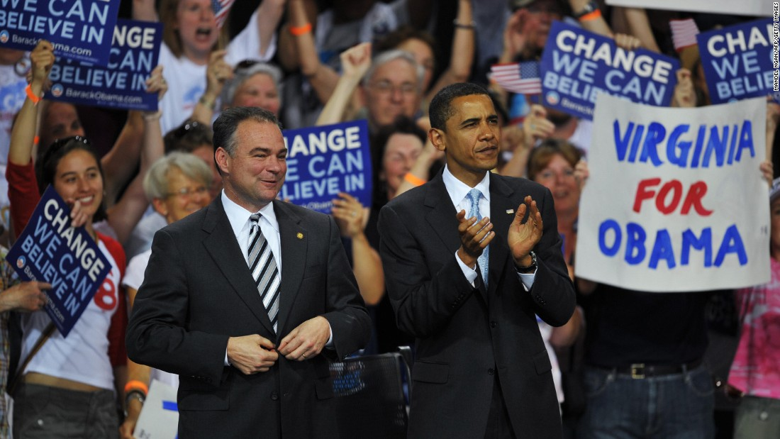 Obama and Kaine applaud as U.S. Sen. Jim Webb speaks at a rally in Bristow, Virginia, in 2008.