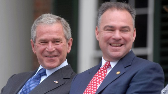 Kaine and U.S. President George W. Bush attend a naturalization ceremony in Charlottesville, Virginia, on July 4, 2008.