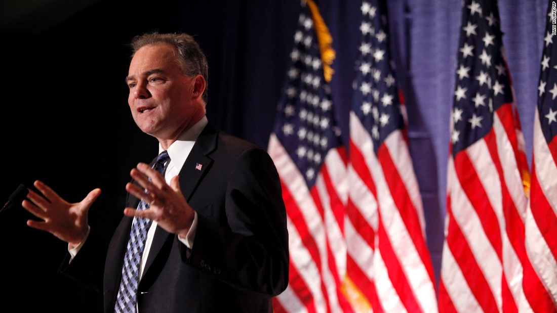 Kaine, as chairman of the Democratic National Committee, speaks at the University of Pennsylvania in 2010. Kaine served as the committee's chairman from January 2009 to April 2011.