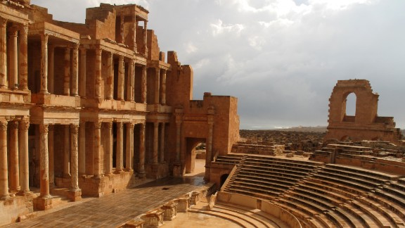 A picture shows the ancient Roman theatre of Sabratha, 90 kms west of the Libyan capital Tripoli, September 29, 2011.  AFP PHOTO/PATRICK BAZ (Photo credit should read PATRICK BAZ/AFP/Getty Images)