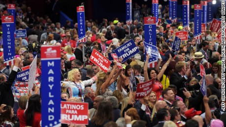 CLEVELAND, OH - JULY 21:  Delegates dance during the the evening session of the fourth day of the Republican National Convention on July 21, 2016 at the Quicken Loans Arena in Cleveland, Ohio. Republican presidential candidate Donald Trump received the number of votes needed to secure the party's nomination. An estimated 50,000 people are expected in Cleveland, including hundreds of protesters and members of the media. The four-day Republican National Convention kicked off on July 18.  (Photo by Jeff Swensen/Getty Images)