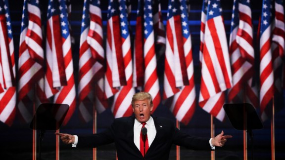 Republican presidential candidate Donald Trump delivers a speech during the evening session on the fourth day of the Republican National Convention on July 21, 2016 at the Quicken Loans Arena in Cleveland, Ohio. Republican presidential candidate Donald Trump received the number of votes needed to secure the party