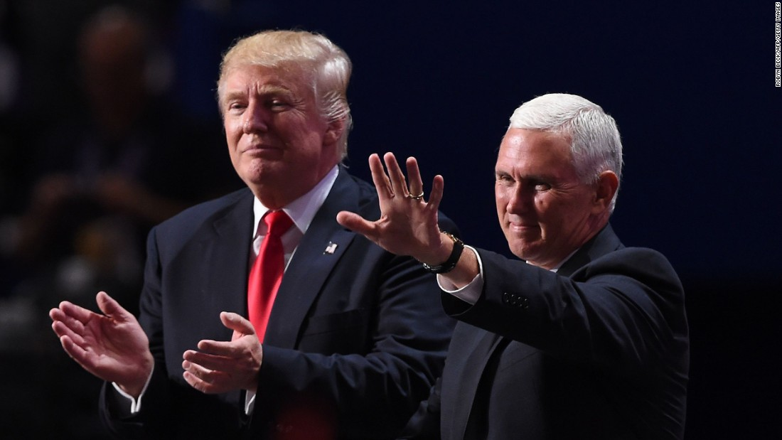 Trump and Pence acknowledge the audience after Trump's speech.