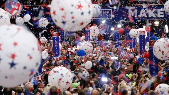 Confetti falls at the end of Trump